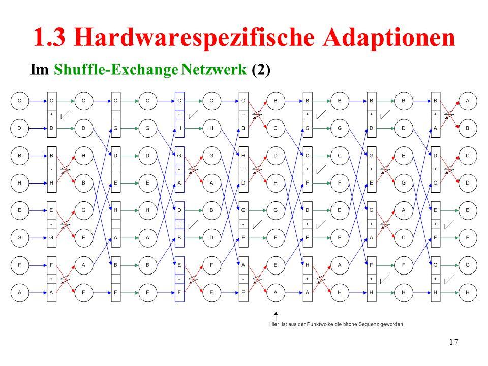 17 Im Shuffle-Exchange Netzwerk (2) 1.3 Hardwarespezifische Adaptionen
