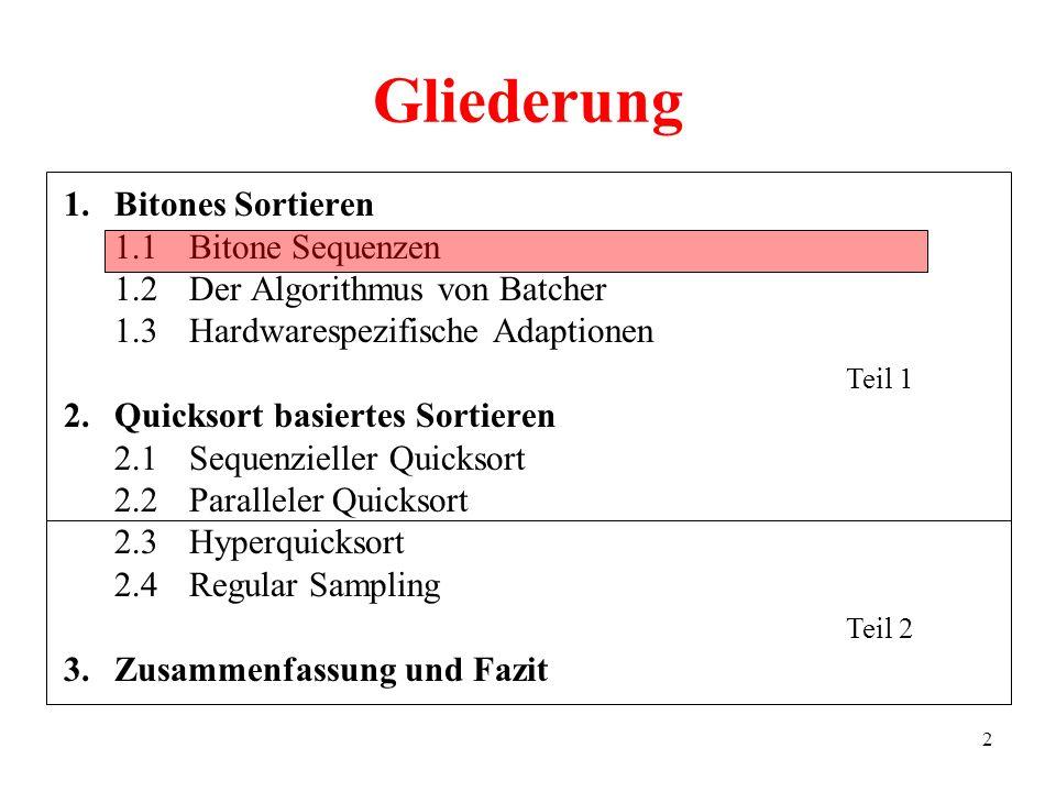 2 Gliederung 1.Bitones Sortieren 1.1Bitone Sequenzen 1.2Der Algorithmus von Batcher 1.3Hardwarespezifische Adaptionen 2.Quicksort basiertes Sortieren 2.1Sequenzieller Quicksort 2.2Paralleler Quicksort 2.3Hyperquicksort 2.4Regular Sampling 3.Zusammenfassung und Fazit Teil 1 Teil 2