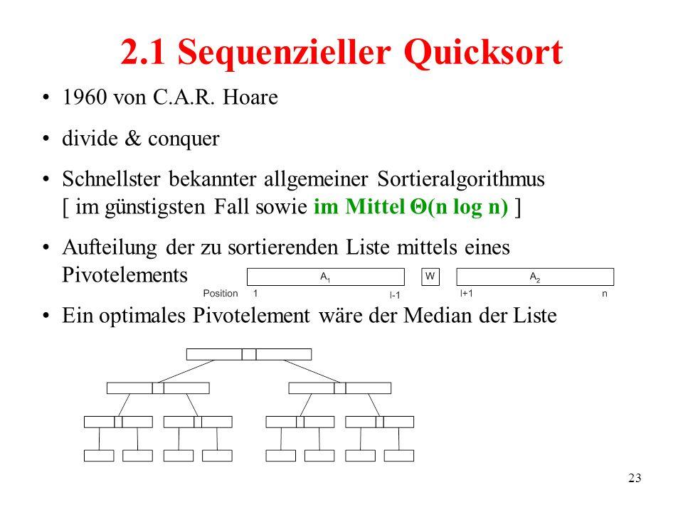 23 1960 von C.A.R. Hoare divide & conquer Schnellster bekannter allgemeiner Sortieralgorithmus [ im günstigsten Fall sowie im Mittel Θ(n log n) ] Auft