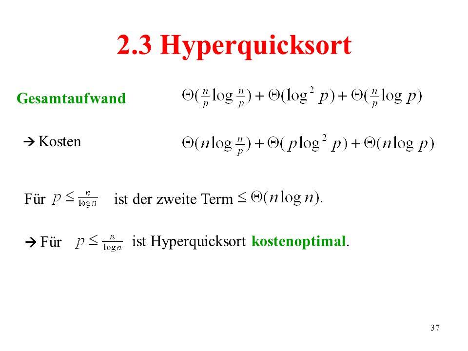 37 Gesamtaufwand 2.3 Hyperquicksort Kosten Fürist der zweite Term Für ist Hyperquicksort kostenoptimal.