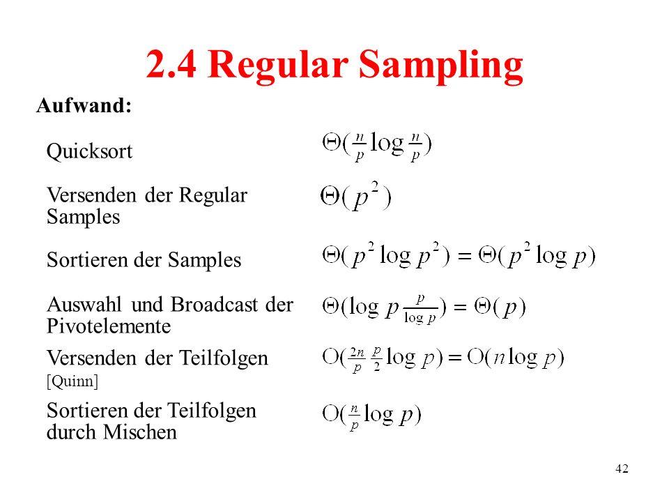 42 Quicksort 2.4 Regular Sampling Sortieren der Teilfolgen durch Mischen Auswahl und Broadcast der Pivotelemente Sortieren der Samples Versenden der R