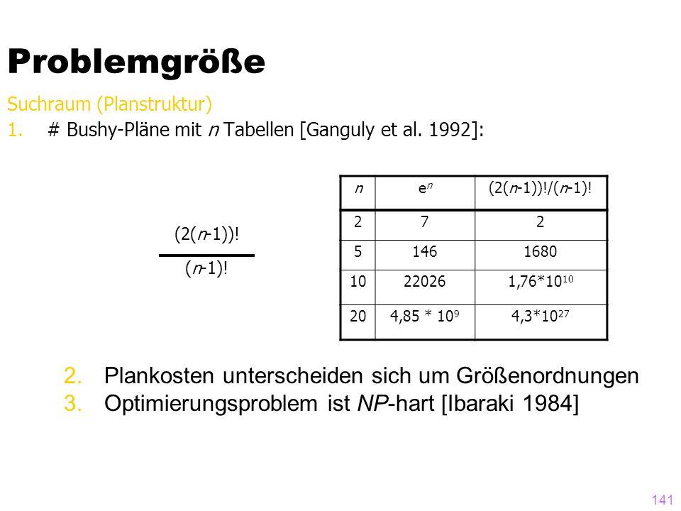 141 Problemgröße Suchraum (Planstruktur) 1.# Bushy-Pläne mit n Tabellen [Ganguly et al. 1992]: nenen (2(n-1))!/(n-1)! 272 51461680 10220261,76*10 10 2
