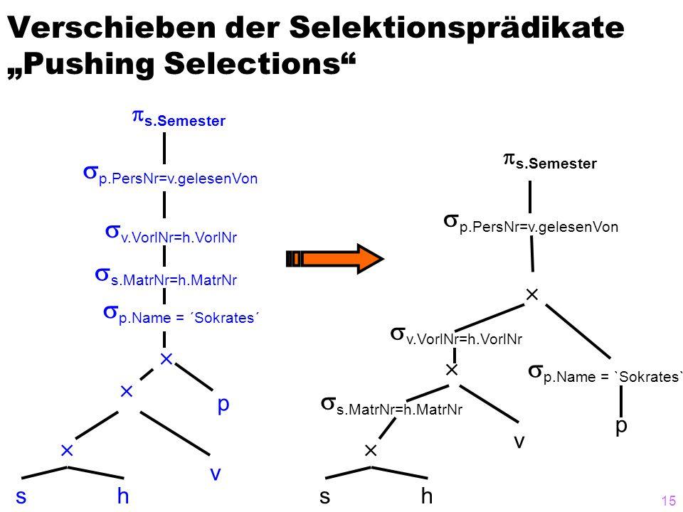15 Verschieben der Selektionsprädikate Pushing Selections sh v p p.PersNr=v.gelesenVon s.Semester p.Name = `Sokrates` s.MatrNr=h.MatrNr v.VorlNr=h.Vor