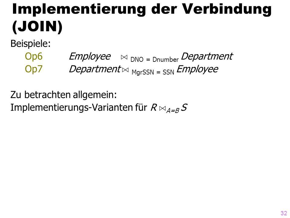 32 Beispiele: Op6Employee A DNO = Dnumber Department Op7 Department A MgrSSN = SSN Employee Zu betrachten allgemein: Implementierungs-Varianten für R