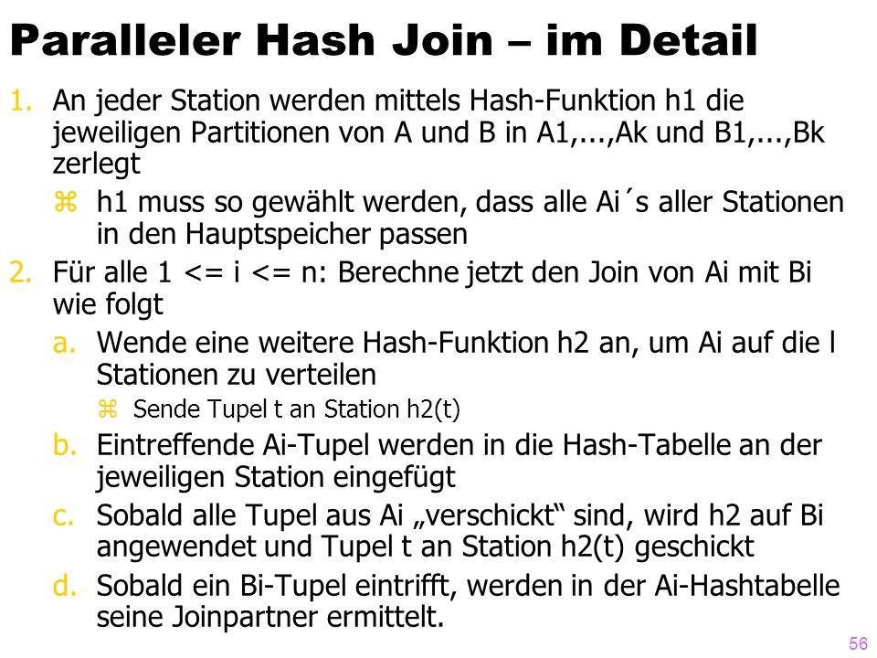 56 Paralleler Hash Join – im Detail 1.An jeder Station werden mittels Hash-Funktion h1 die jeweiligen Partitionen von A und B in A1,...,Ak und B1,...,