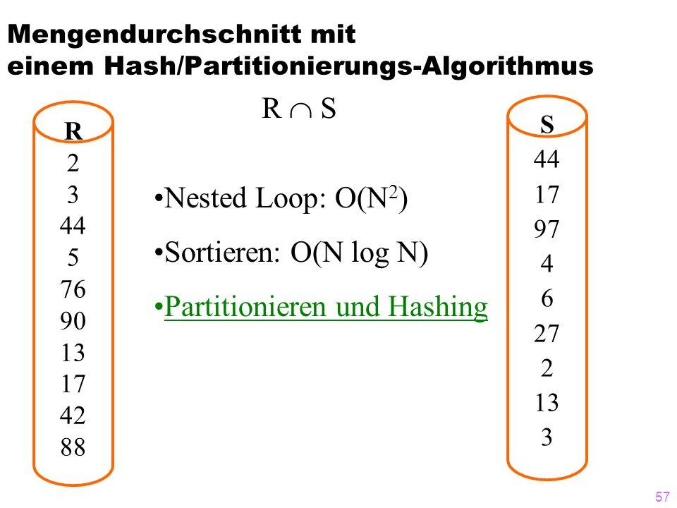 57 Mengendurchschnitt mit einem Hash/Partitionierungs-Algorithmus R 2 3 44 5 76 90 13 17 42 88 S 44 17 97 4 6 27 2 13 3 R S Nested Loop: O(N 2 ) Sorti