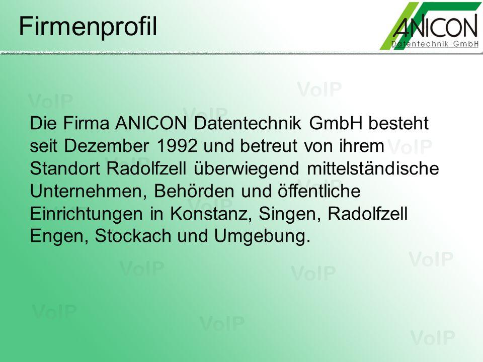 Firmenprofil Die Firma ANICON Datentechnik GmbH besteht seit Dezember 1992 und betreut von ihrem Standort Radolfzell überwiegend mittelständische Unte