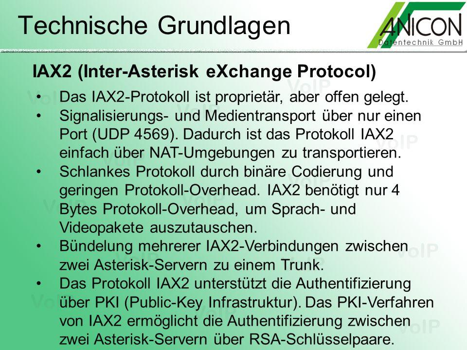 Technische Grundlagen Das IAX2-Protokoll ist proprietär, aber offen gelegt. Signalisierungs- und Medientransport über nur einen Port (UDP 4569). Dadur