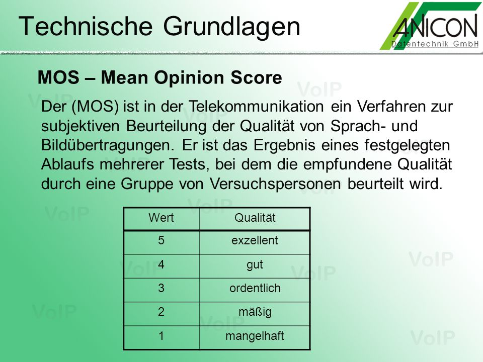 Technische Grundlagen MOS – Mean Opinion Score WertQualität 5exzellent 4gut 3ordentlich 2mäßig 1mangelhaft Der (MOS) ist in der Telekommunikation ein
