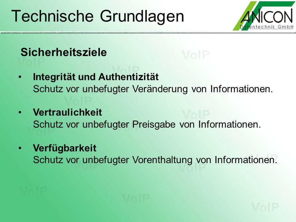 Technische Grundlagen Sicherheitsziele Integrität und Authentizität Schutz vor unbefugter Veränderung von Informationen. Vertraulichkeit Schutz vor un