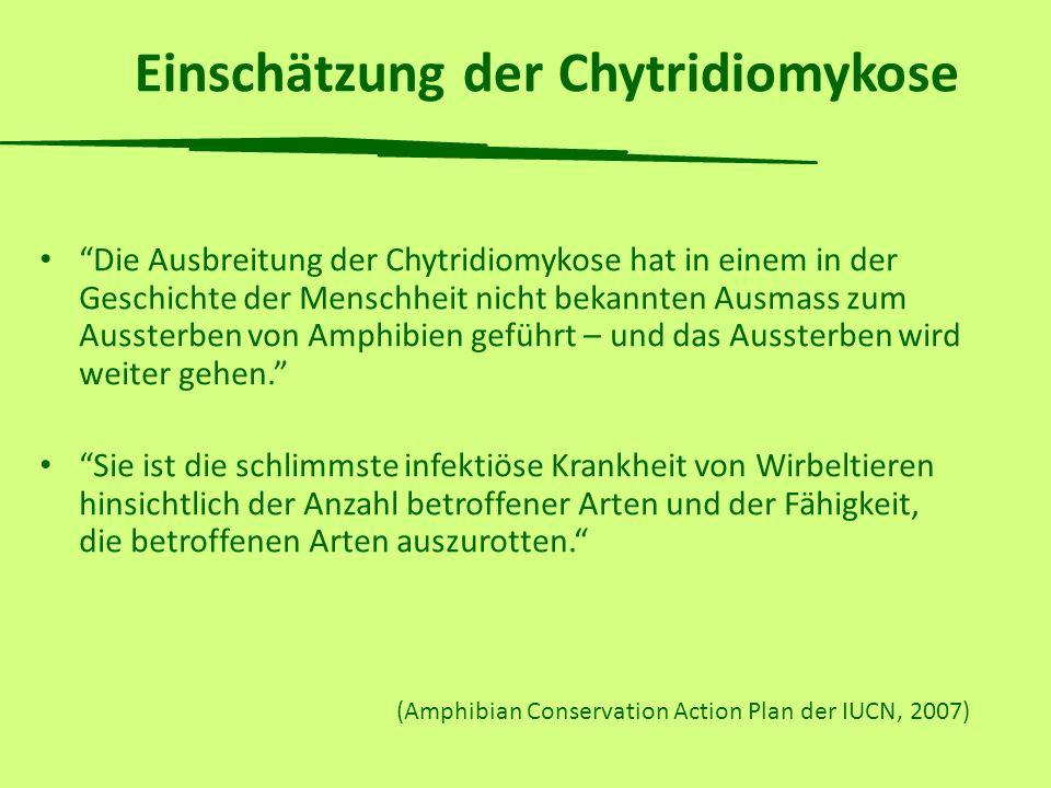 Dank Für die Finanzierung der Chytridpilz-Forschung BAFU (Bundesamt für Umwelt) Karch (Koordinationsstelle für Amphibien- und Reptilienschutz in der Schweiz) Cantonal Nature Conservation Offices WAZA (World Association of Zoos and Aquariums) EUAC (EUROPEAN UNION OF AQUARIUM CURATORS) Zoologisches Institut der Uni Zürich Forschungskredit der Uni Zürich Vontobel Stiftung Basler Stiftung für biologische Forschung Janggen-Pöhn-Stiftung, St.Gallen Zoo Zürich De Giacomi Stiftung, Chur Zürcher Tierschutz Grün Stadt Zürich/Naturzentrum Sihlwald