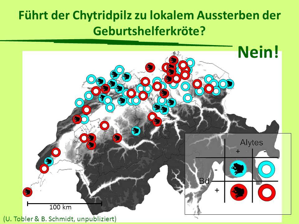 Führt der Chytridpilz zu lokalem Aussterben der Geburtshelferkröte? 100 km (U. Tobler & B. Schmidt, unpubliziert) Nein!