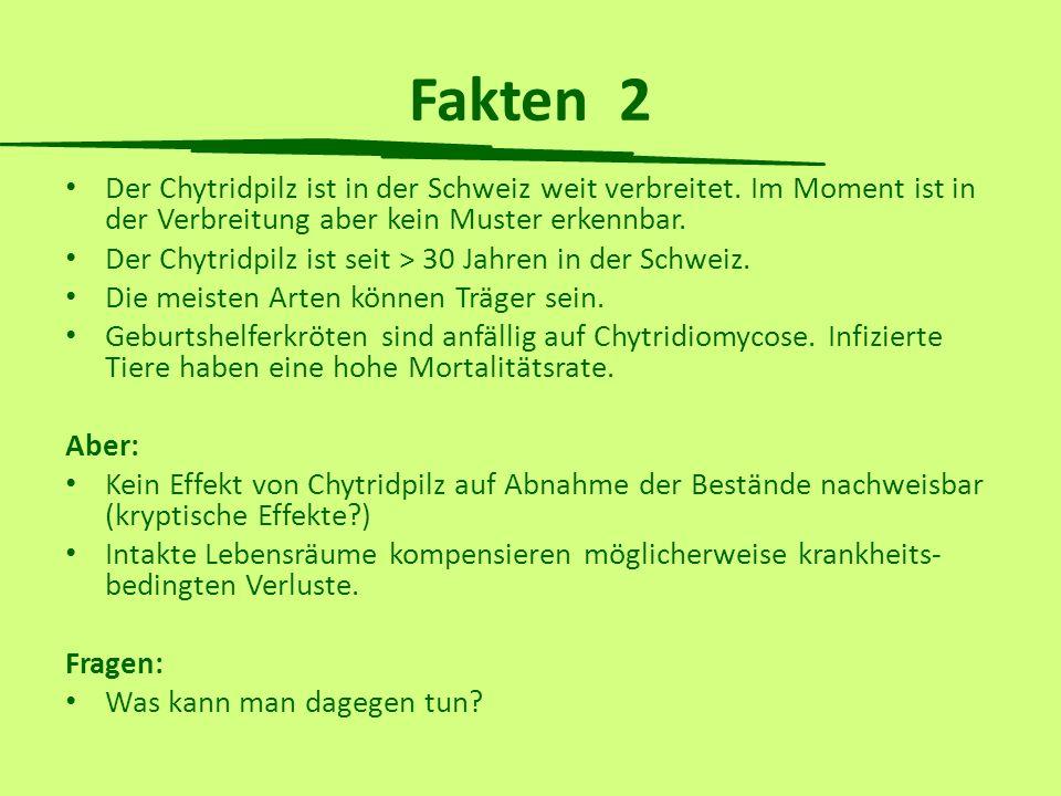 Fakten 2 Der Chytridpilz ist in der Schweiz weit verbreitet. Im Moment ist in der Verbreitung aber kein Muster erkennbar. Der Chytridpilz ist seit > 3