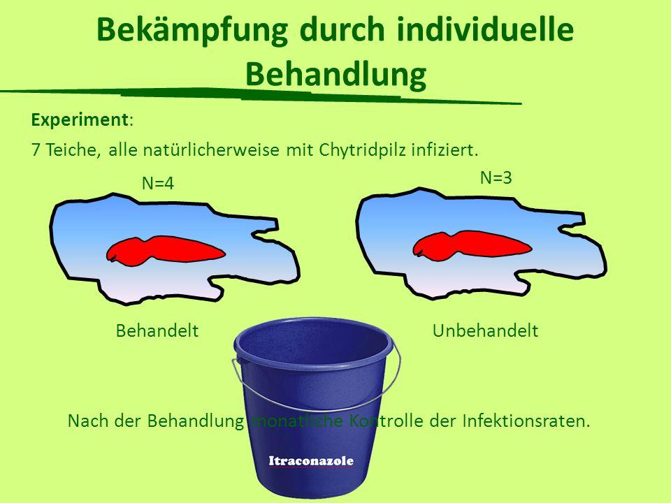 Bekämpfung durch individuelle Behandlung Experiment: 7 Teiche, alle natürlicherweise mit Chytridpilz infiziert. N=4 N=3 BehandeltUnbehandelt Nach der