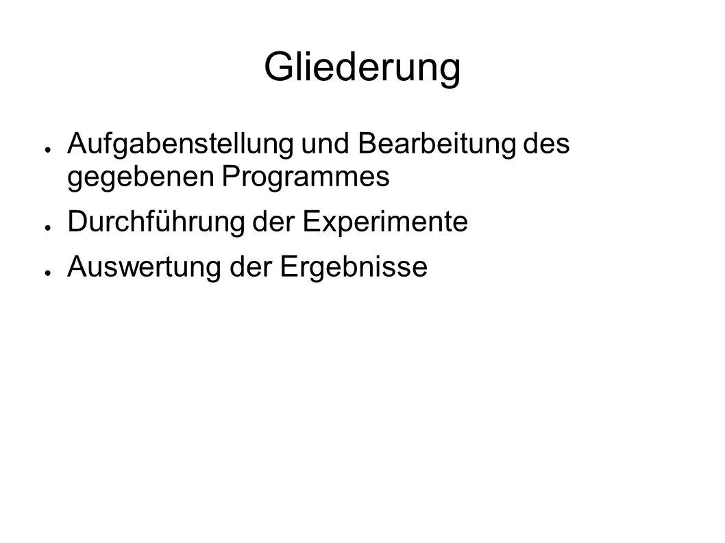 Gliederung Aufgabenstellung und Bearbeitung des gegebenen Programmes Durchführung der Experimente Auswertung der Ergebnisse