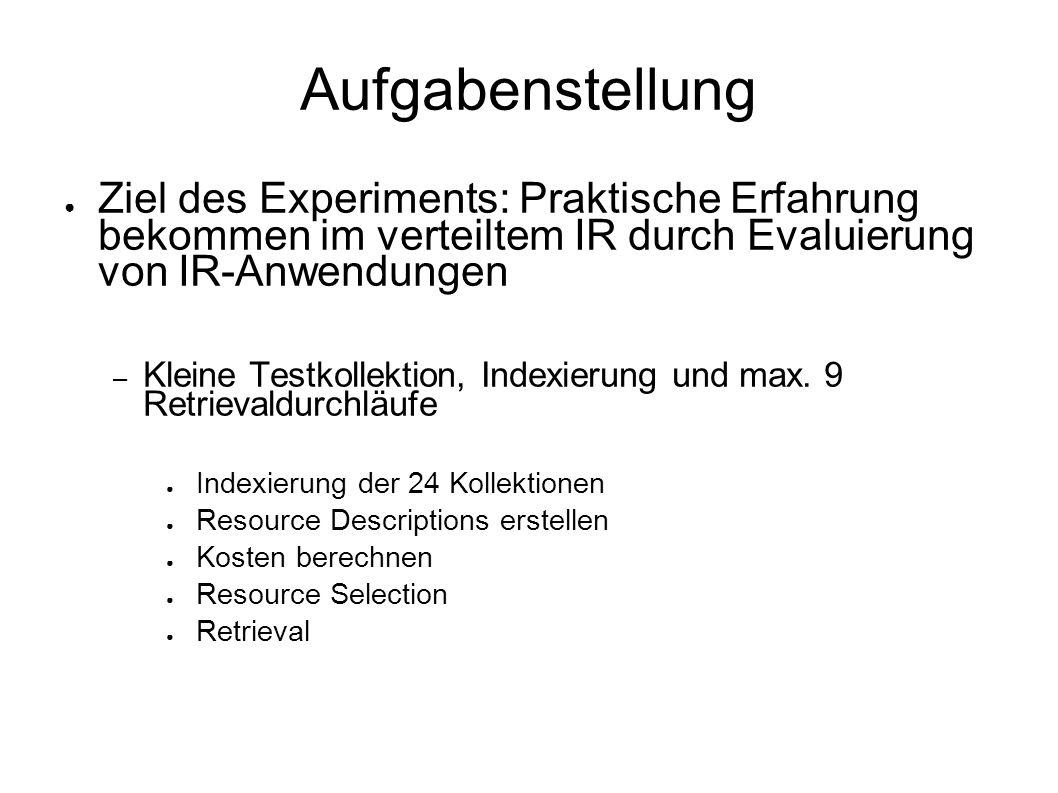 Aufgabenstellung Ziel des Experiments: Praktische Erfahrung bekommen im verteiltem IR durch Evaluierung von IR-Anwendungen – Kleine Testkollektion, Indexierung und max.