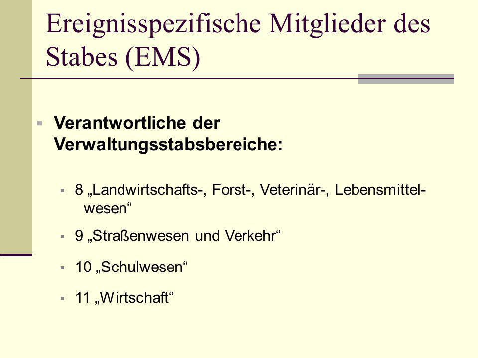 Ereignisspezifische Mitglieder des Stabes (EMS) Verantwortliche der Verwaltungsstabsbereiche: 8 Landwirtschafts-, Forst-, Veterinär-, Lebensmittel- we