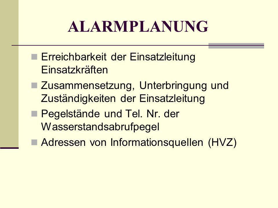 ALARMPLANUNG Erreichbarkeit der Einsatzleitung Einsatzkräften Zusammensetzung, Unterbringung und Zuständigkeiten der Einsatzleitung Pegelstände und Te