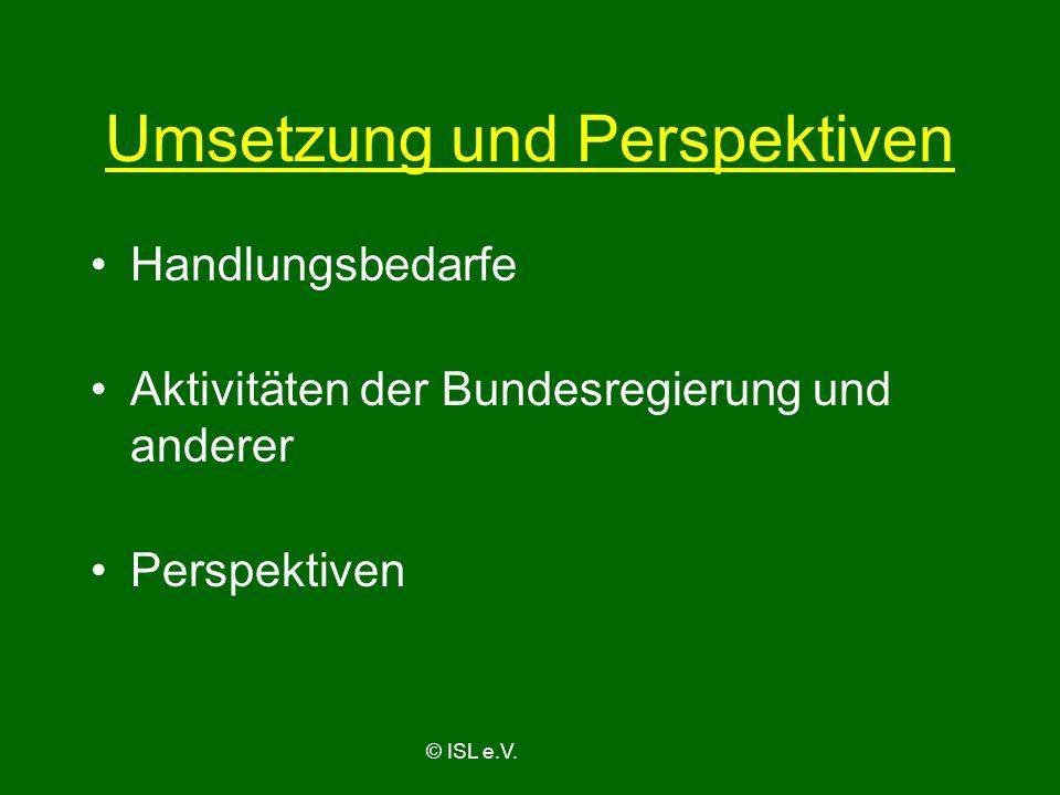 Umsetzung und Perspektiven Handlungsbedarfe Aktivitäten der Bundesregierung und anderer Perspektiven © ISL e.V.