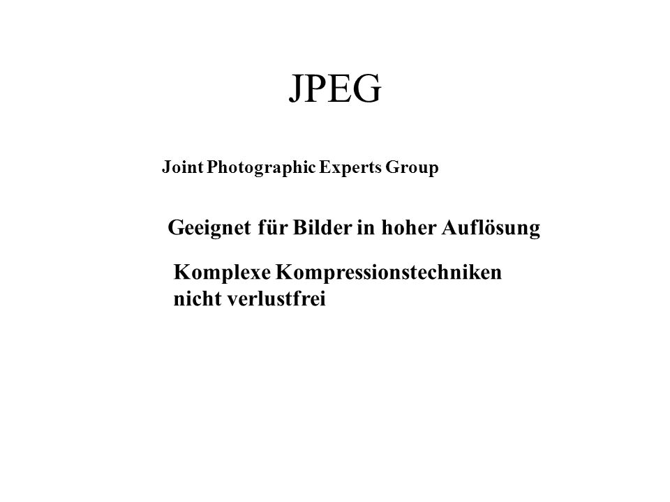 Tagged Image File Format TIFF Format zur Archivierung (24 bit/Pixel) 132 1,3,4,5,9,10,12,14,15,18 6,8,13,17 2,7,11,16