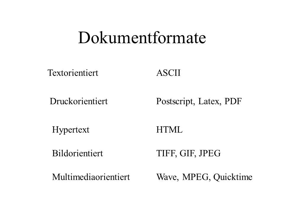 Dokumentformate ABC Http://www.uni-frankfurt.de Text Bild Hyperlink Ton