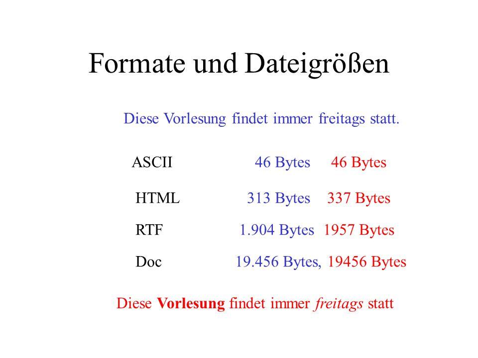 Auszeichnungen A, A, A Font 1 Font 2 Font = Zeichensatz inclusive Schriftbild Auszeichnungen können:- in Text integriert werden - durch Bildübertragung er- halten werden - in Dateiinformation abge- speichert sein