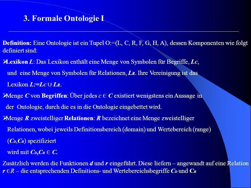 3. Formale Ontologie I Definition: Eine Ontologie ist ein Tupel O:=(L, C, R, F, G, H, A), dessen Komponenten wie folgt definiert sind: Lexikon L: Das