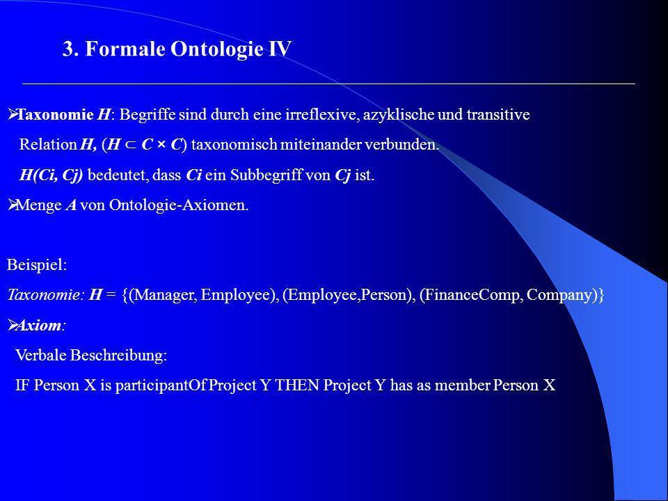 Taxonomie H: Begriffe sind durch eine irreflexive, azyklische und transitive Relation H, (H C × C) taxonomisch miteinander verbunden. H(Ci, Cj) bedeut