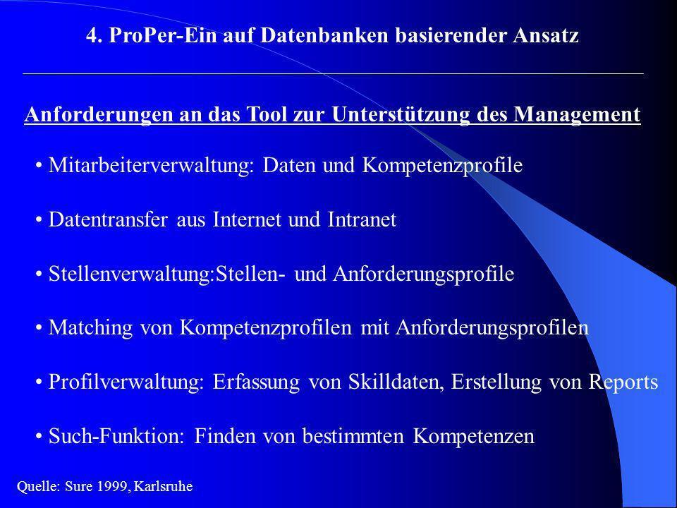 4. ProPer-Ein auf Datenbanken basierender Ansatz Anforderungen an das Tool zur Unterstützung des Management Mitarbeiterverwaltung: Daten und Kompetenz