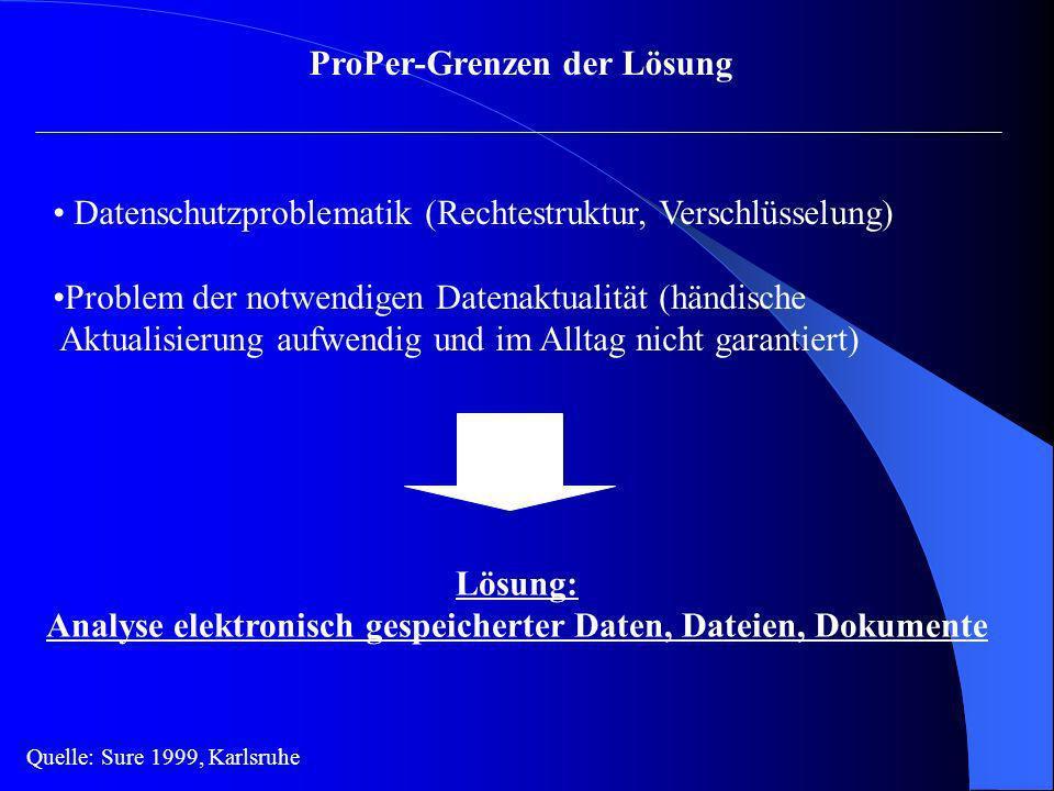 ProPer-Grenzen der Lösung Datenschutzproblematik (Rechtestruktur, Verschlüsselung) Problem der notwendigen Datenaktualität (händische Aktualisierung a
