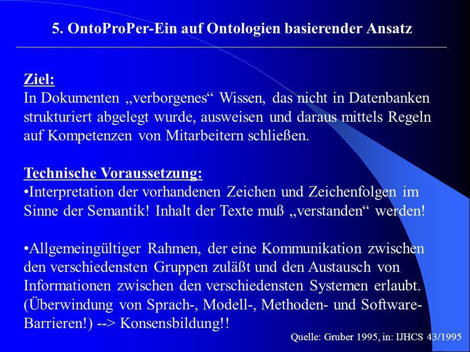 5. OntoProPer-Ein auf Ontologien basierender Ansatz Ziel: In Dokumenten verborgenes Wissen, das nicht in Datenbanken strukturiert abgelegt wurde, ausw