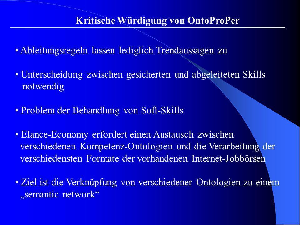 Kritische Würdigung von OntoProPer Ableitungsregeln lassen lediglich Trendaussagen zu Unterscheidung zwischen gesicherten und abgeleiteten Skills notw