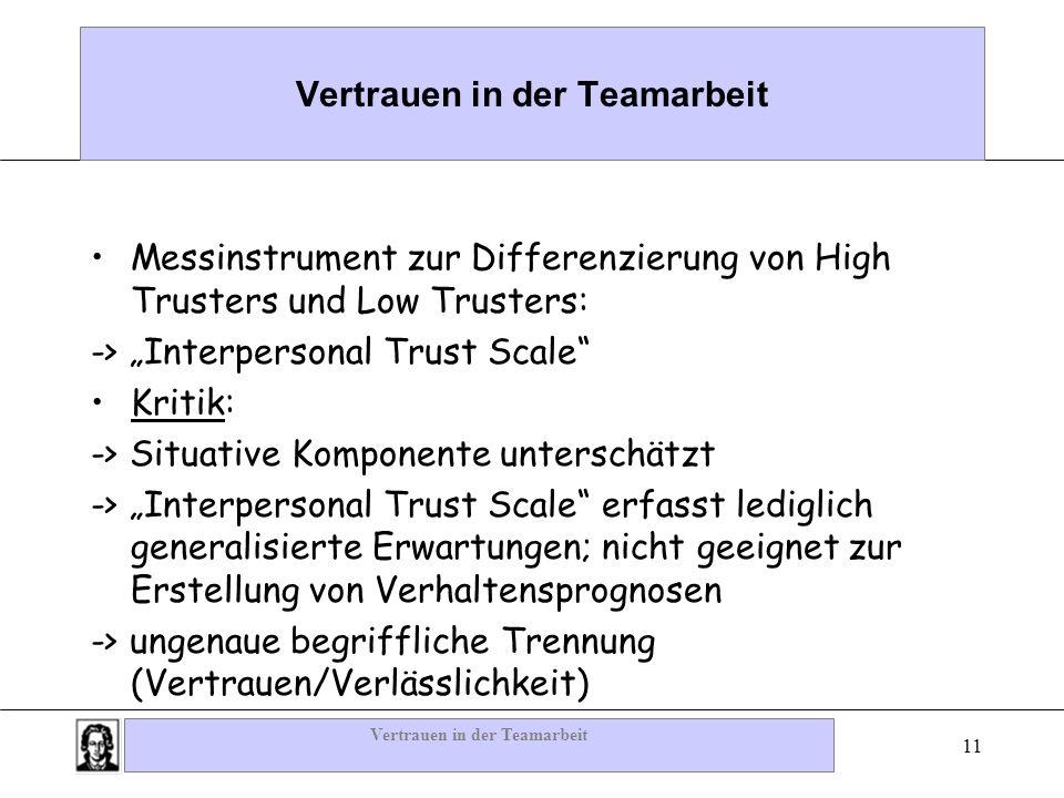 Vertrauen in der Teamarbeit 11 Vertrauen in der Teamarbeit Messinstrument zur Differenzierung von High Trusters und Low Trusters: -> Interpersonal Tru