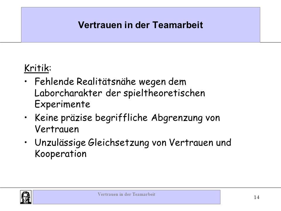 Vertrauen in der Teamarbeit 14 Vertrauen in der Teamarbeit Kritik: Fehlende Realitätsnähe wegen dem Laborcharakter der spieltheoretischen Experimente