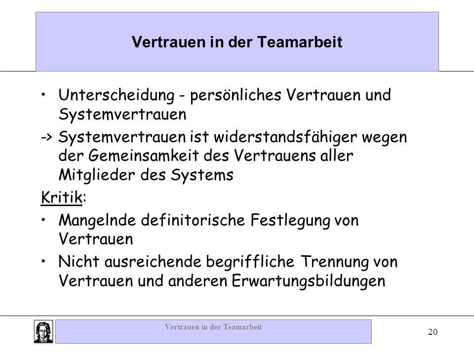 Vertrauen in der Teamarbeit 20 Vertrauen in der Teamarbeit Unterscheidung - persönliches Vertrauen und Systemvertrauen -> Systemvertrauen ist widersta