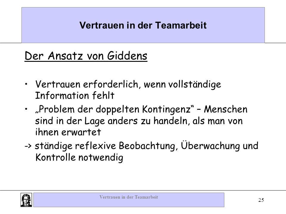 Vertrauen in der Teamarbeit 25 Vertrauen in der Teamarbeit Der Ansatz von Giddens Vertrauen erforderlich, wenn vollständige Information fehlt Problem