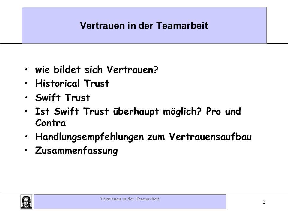 Vertrauen in der Teamarbeit 3 wie bildet sich Vertrauen? Historical Trust Swift Trust Ist Swift Trust überhaupt möglich? Pro und Contra Handlungsempfe