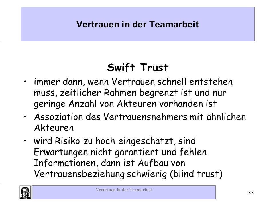 Vertrauen in der Teamarbeit 33 Vertrauen in der Teamarbeit Swift Trust immer dann, wenn Vertrauen schnell entstehen muss, zeitlicher Rahmen begrenzt i
