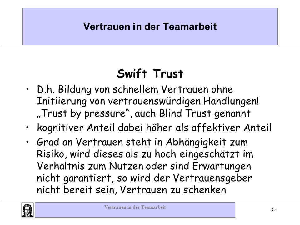 Vertrauen in der Teamarbeit 34 Vertrauen in der Teamarbeit Swift Trust D.h. Bildung von schnellem Vertrauen ohne Initiierung von vertrauenswürdigen Ha