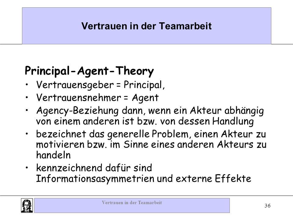 Vertrauen in der Teamarbeit 36 Vertrauen in der Teamarbeit Principal-Agent-Theory Vertrauensgeber = Principal, Vertrauensnehmer = Agent Agency-Beziehu