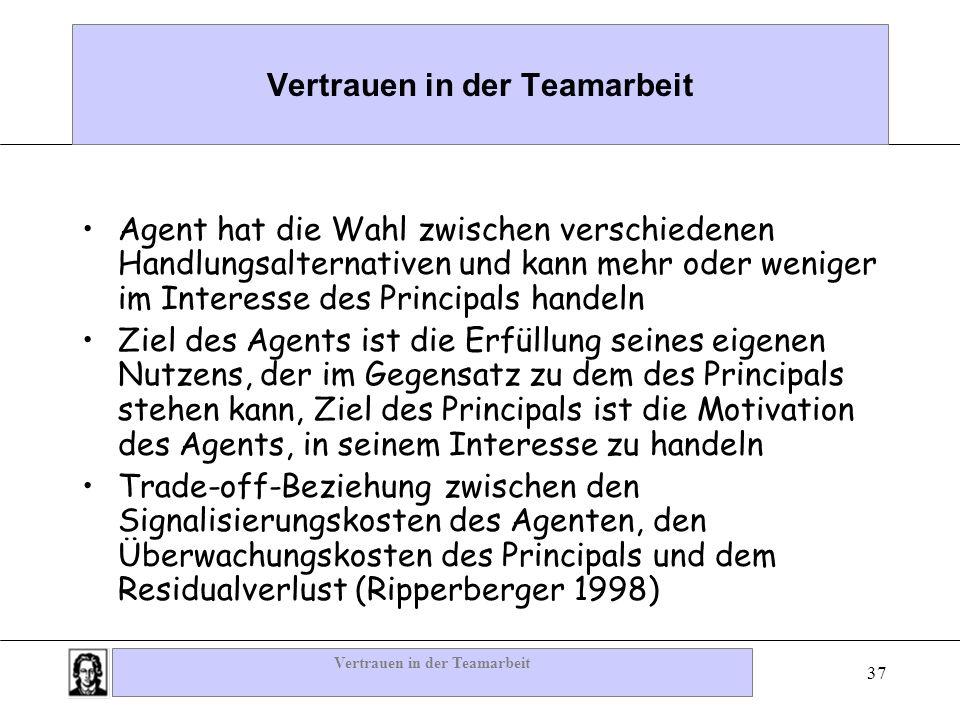 Vertrauen in der Teamarbeit 37 Vertrauen in der Teamarbeit Agent hat die Wahl zwischen verschiedenen Handlungsalternativen und kann mehr oder weniger