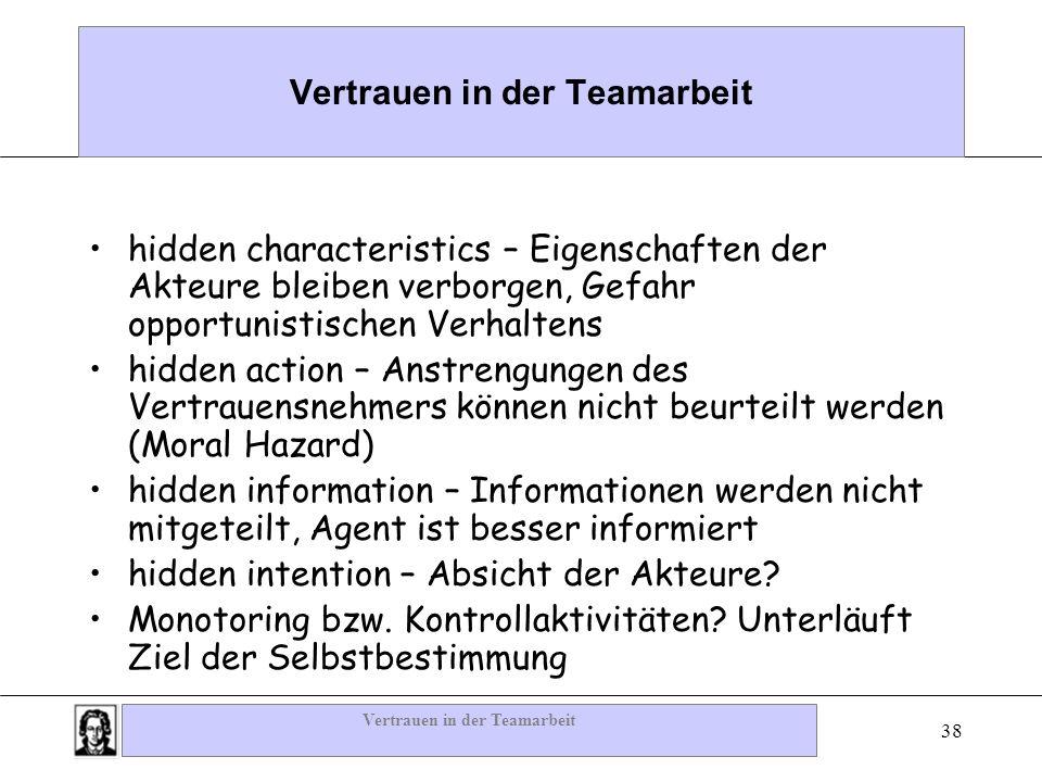 Vertrauen in der Teamarbeit 38 Vertrauen in der Teamarbeit hidden characteristics – Eigenschaften der Akteure bleiben verborgen, Gefahr opportunistisc