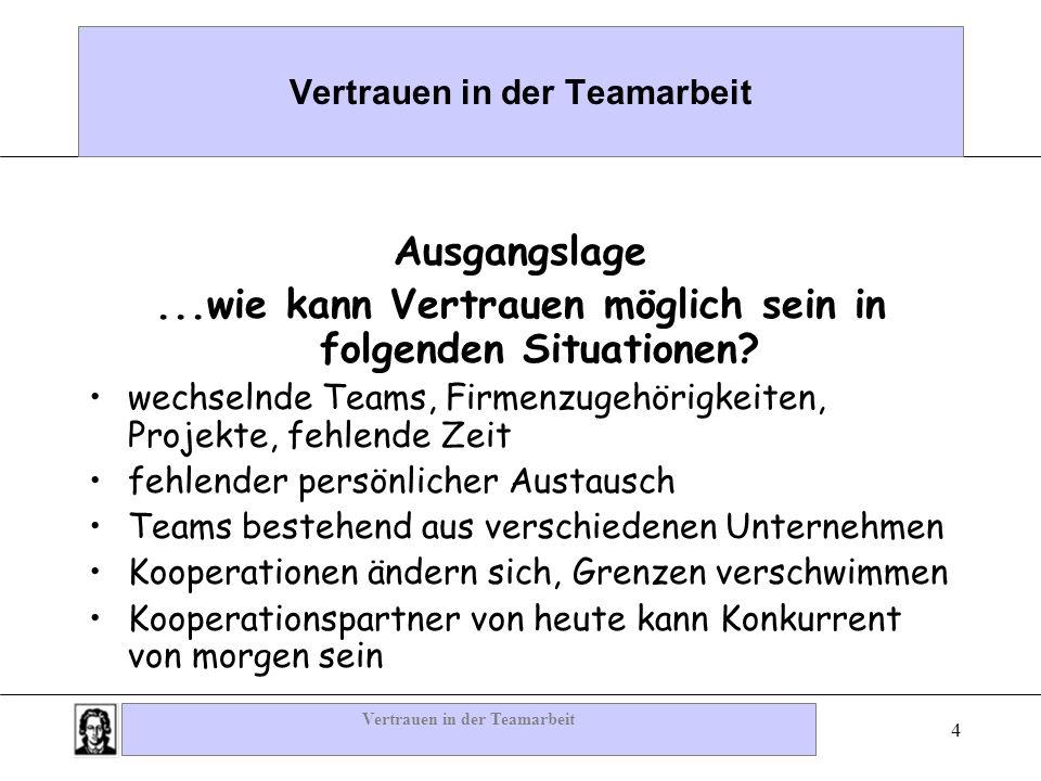 Vertrauen in der Teamarbeit 4 Ausgangslage...wie kann Vertrauen möglich sein in folgenden Situationen? wechselnde Teams, Firmenzugehörigkeiten, Projek