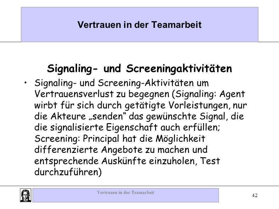 Vertrauen in der Teamarbeit 42 Vertrauen in der Teamarbeit Signaling- und Screeningaktivitäten Signaling- und Screening-Aktivitäten um Vertrauensverlu
