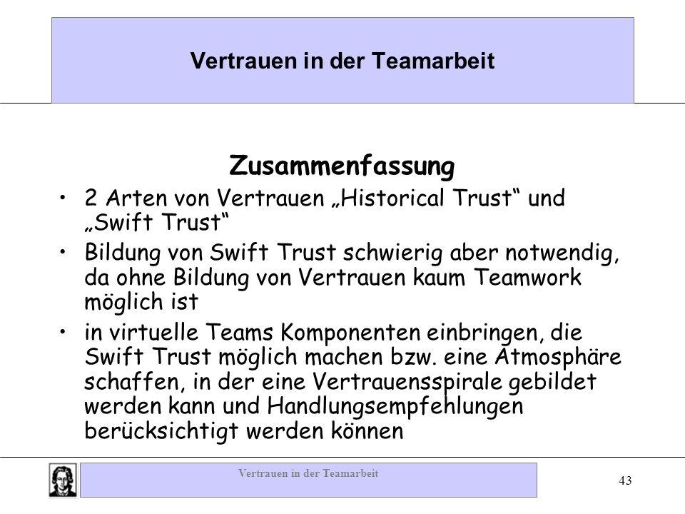 Vertrauen in der Teamarbeit 43 Vertrauen in der Teamarbeit Zusammenfassung 2 Arten von Vertrauen Historical Trust und Swift Trust Bildung von Swift Tr