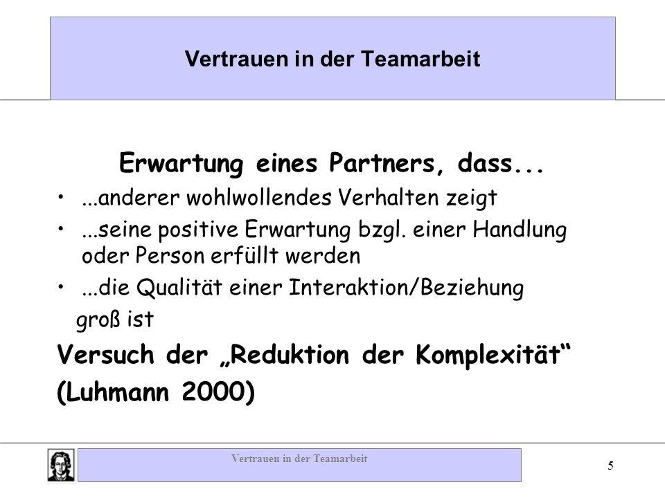 Vertrauen in der Teamarbeit 5 Erwartung eines Partners, dass......anderer wohlwollendes Verhalten zeigt...seine positive Erwartung bzgl. einer Handlun