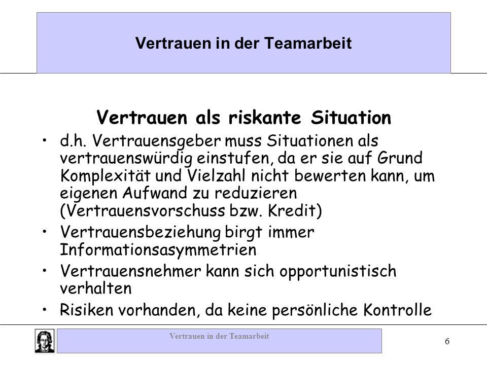 Vertrauen in der Teamarbeit 6 Vertrauen als riskante Situation d.h. Vertrauensgeber muss Situationen als vertrauenswürdig einstufen, da er sie auf Gru