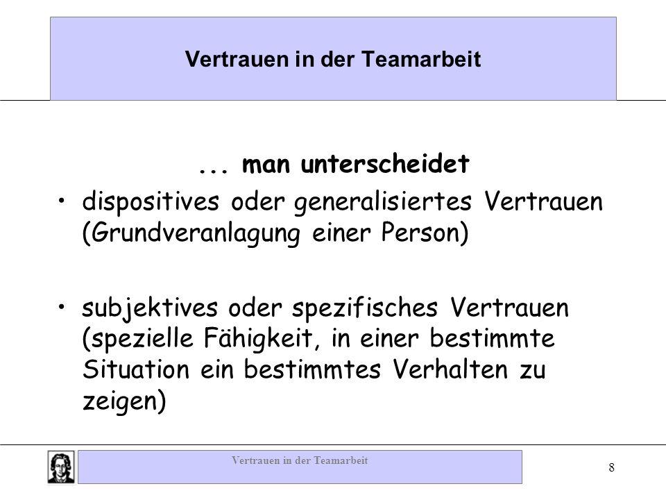 Vertrauen in der Teamarbeit 8... man unterscheidet dispositives oder generalisiertes Vertrauen (Grundveranlagung einer Person) subjektives oder spezif