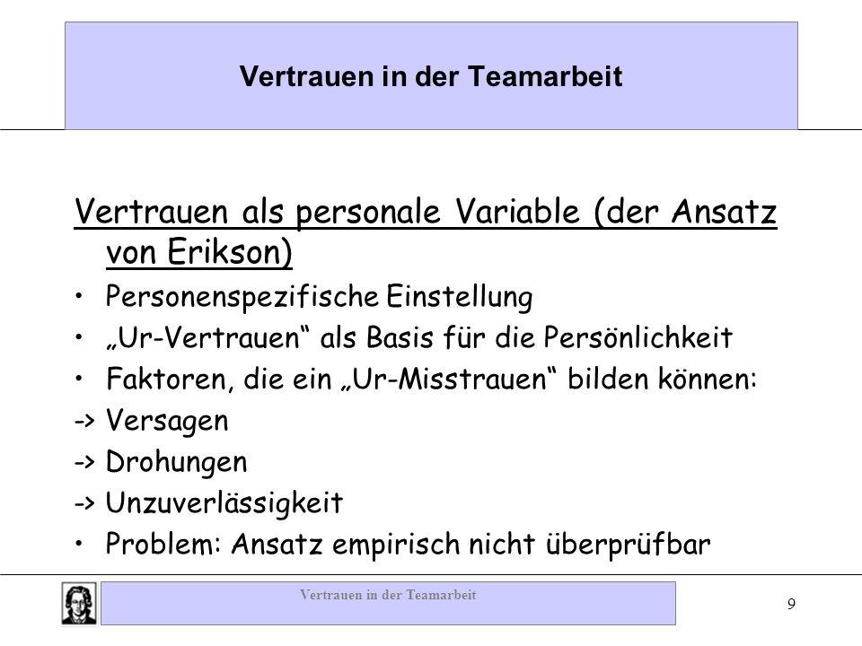 Vertrauen in der Teamarbeit 9 Vertrauen als personale Variable (der Ansatz von Erikson) Personenspezifische Einstellung Ur-Vertrauen als Basis für die