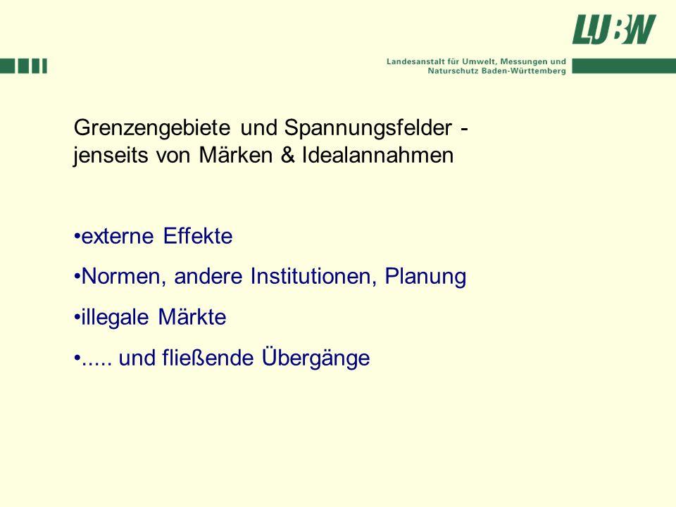 Grenzengebiete und Spannungsfelder - jenseits von Märken & Idealannahmen externe Effekte Normen, andere Institutionen, Planung illegale Märkte..... un